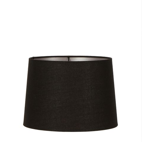 Medium Drum Lamp Shade (14x12x9.5 H) - Black with Silver Lining - Linen Lamp Shade with E27 Fixture