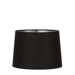 Linen Drum Lamp Shade Medium Black with Silver Lining
