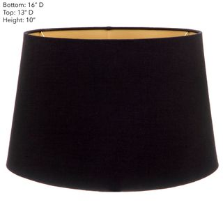 Large Drum Lamp Shade (16x13x10 H) - Black with Gold Lining - Linen Lamp Shade with E27 Fixture
