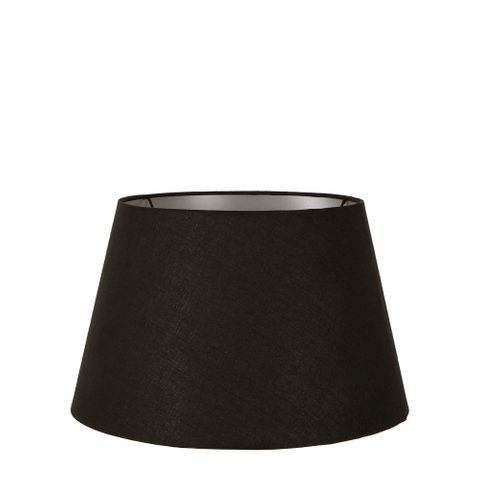 Small Taper Lamp Shade (12x8x9 H) - Black with Silver Lining - Linen Lamp Shade with E27 Fixture