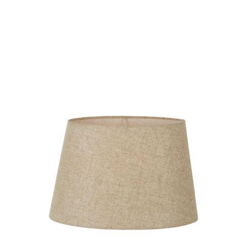 XS Oval Lamp Shade (10x7 x 8x5 x7 H) - Dark Natural Linen - Linen Lamp Shade with E27 Fixture