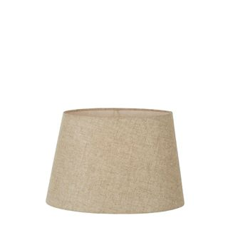 XS Oval Lamp Shade (10x7 x 8x5 x7 H) - Dark Natural Linen - Linen Lamp Shade with E27 Fixture