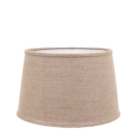 Large Drum Lamp Shade (16x13x10 H) - Jute - Jute Lamp Shade with Collar and E27 Fixture