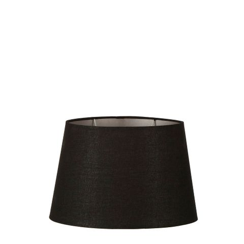XS Oval Lamp Shade (10x7 x 8x5 x7 H) - Black with Silver Lining - Lamp Shade with E27 Fixture