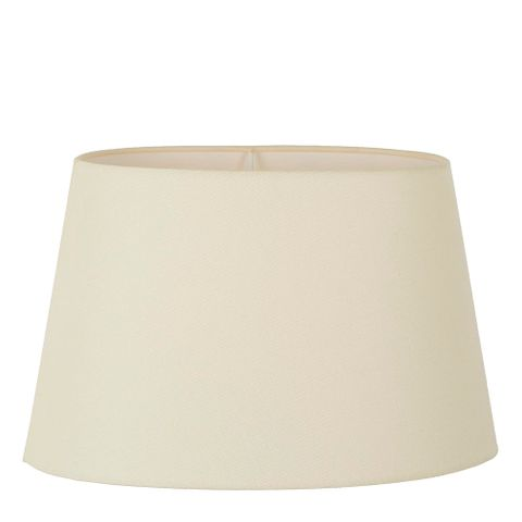XXL Oval Lamp Shade (20x12 x 16x10 x12 H ) - Textured Ivory - Linen Lamp Shade with E27 Fixture