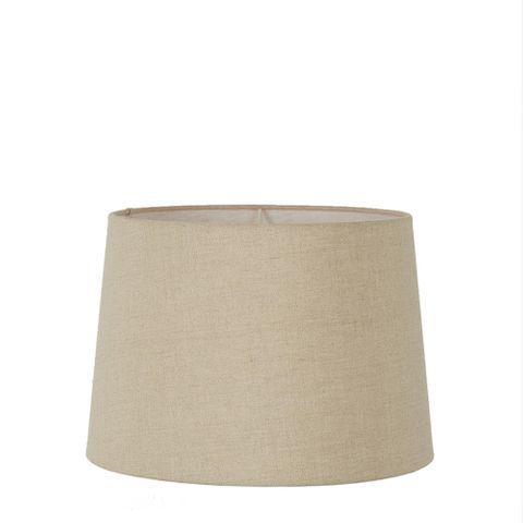 Medium Drum Lamp Shade (14x12x9.5 H) - Dark Natural Linen - Linen Lamp Shade with E27 Fixture