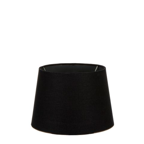 XS Drum Lamp Shade (10x8x7 H) - Black with Silver Lining - Linen Lamp Shade with E27 Fixture