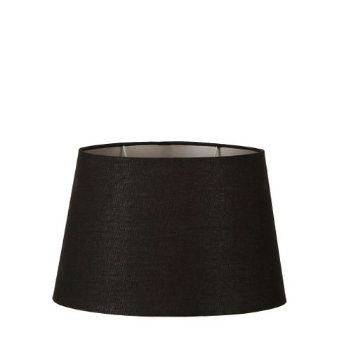 Medium Oval Lamp Shade (14x9 x 11x6 x9 H ) - Black with Silver Lining - Linen Lamp Shade with E27 Fixture