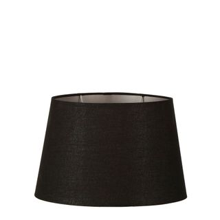 Linen Oval Lamp Shade Medium Black with Silver Lining