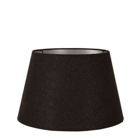 Medium Taper Lamp Shade (14x9x9.5 H) - Black with Silver Lining - Linen Lamp Shade with B22 Fixture