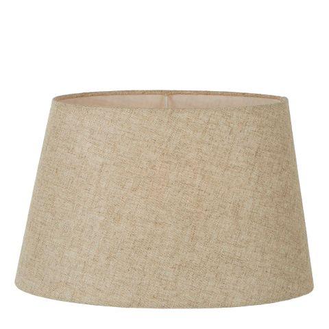 XXL Oval Lamp Shade (20x12 x 16x10 x12 H ) - Dark Natural Linen - Lamp Shade with E27 Fixture