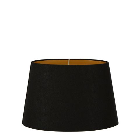 """""""Medium Oval Lamp Shade (14x9 x 11x6 x9 H    ) - Black with Gold Lining - Linen Lamp Shade with E27 Fixture"""""""