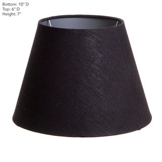 XS Taper Lamp Shade (10x6x7 H) - Black with Silver Lining - Linen Lamp Shade with E27 Fixture
