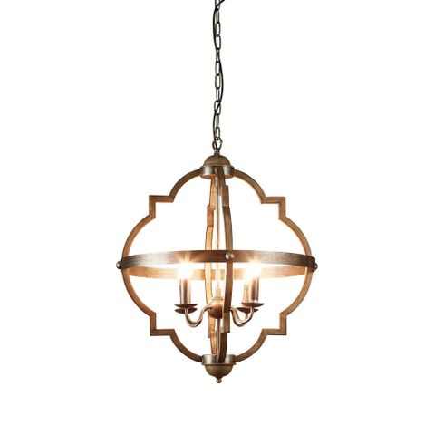 Hyatt Hanging Lamp in Grey Iron Metal Medium
