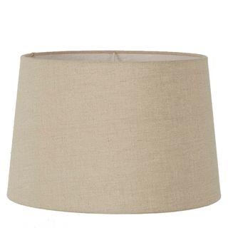 XXL Drum Lamp Shade (20x18x12 H) - Dark Natural Linen - Linen Lamp Shade with E27 Fixture
