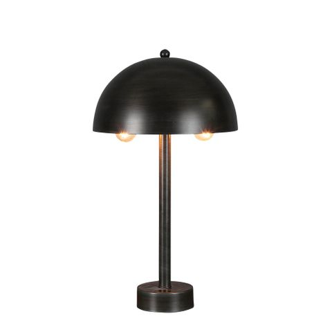Parker Table - Antique Zinc - Contemporary Domed Metal Shade Table Lamp
