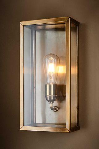 Goodman Lantern Wall Lamp in Ant Brass