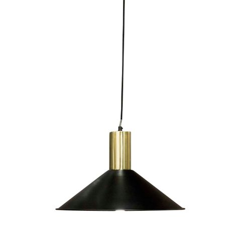 Redfern Hanging Lamp Black w Brass Top