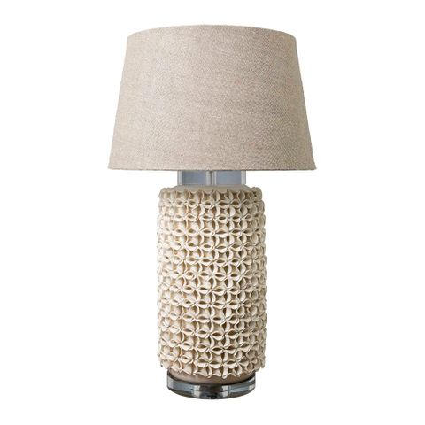 Newland - Cream - Glazed Ceramic and Acrylic Cylinder Table Lamp with Individual Ceramic Flowers Base Only