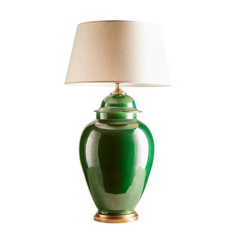 Fine Cotton Table Lamp Base in Emerald