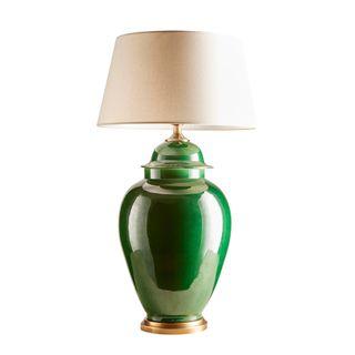 Fine Cotton Ceramic Table Lamp Base Emerald