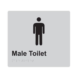 Braille Sign Male - Silver/Black