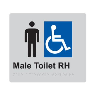 Braille Sign Male Accessible Toilet RH - Silver/Black