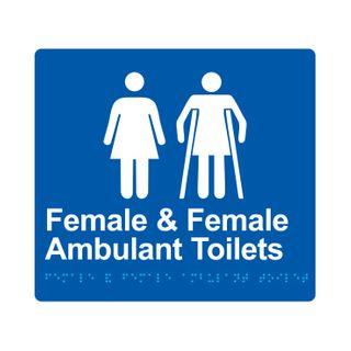 Braille Sign Female And Female Ambulant Toilet - Blue/White