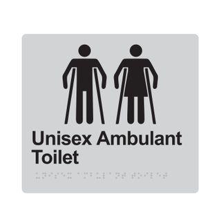 Braille Sign Unisex Ambulant Toilet - Silver/Black