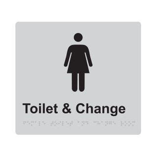Braille Sign Female Change Room - Silver/Black