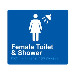 Braille Sign Female Toilet And Shower - Blue/White