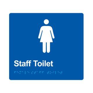 Braille Sign Female Staff Toilet - Blue/White