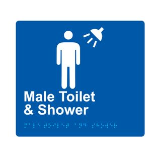 Braille Sign Male Toilet And Shower - Blue/White