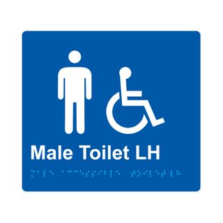 Braille Sign Male Accessible Toilet LH  - Blue/White