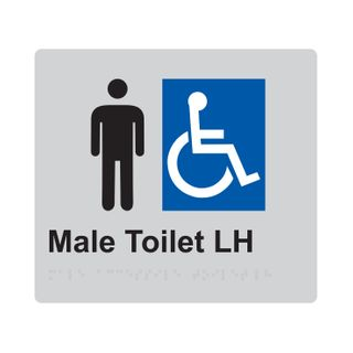 Braille Sign Male Accessible Toilet LH - Silver/Black