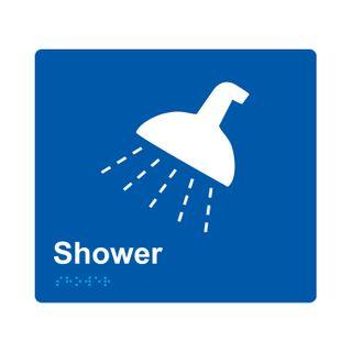 Braille Sign Shower - Blue/White