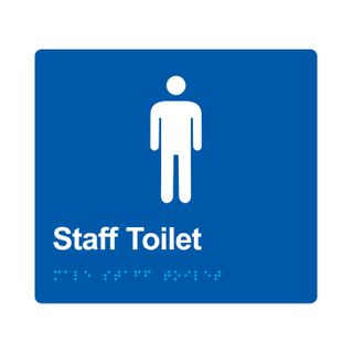 Braille Sign Male Staff Toilet - Blue/White