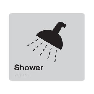 Braille Sign Shower - Silver/Black