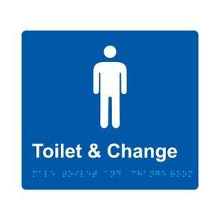 Braille Sign Male Change Room  - Blue/White