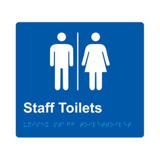 Braille Sign Unisex Staff Toilets Airlock - Blue/White
