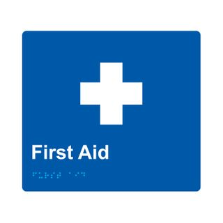 Braille Sign First Aid - Blue/White