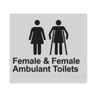 Braille Sign Female And Female Ambulant Toilet - Silver/Black