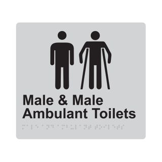 Braille Sign Male And Male Ambulant Toilet - Silver/Black