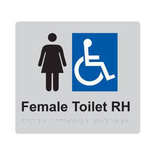 Braille Sign Female Accessible Toilet RH - Silver/Black