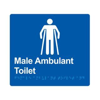 Braille Sign Male Ambulant Toilet - Blue/White