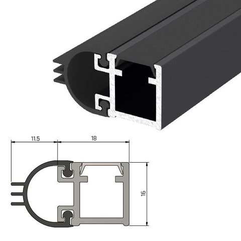 IS7080si Medium Duty Perimeter Seal Fire Rated - Long Single Door Set - BLACK
