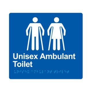 Braille Sign Unisex Ambulant Toilet  - Blue/White