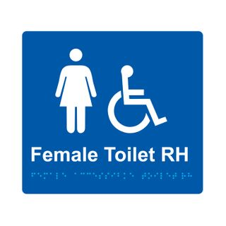 Braille Sign Female Accessible Toilet RH  - Blue/White