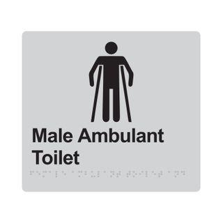 Braille Sign Male Ambulant Toilet - Silver/Black