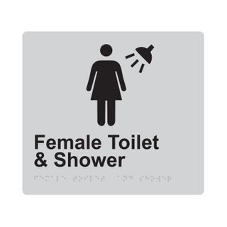 Braille Sign Female Toilet And Shower - Silver/Black